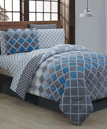 Look what I found on #zulily! Blue & Gray Levi Eight-Piece Bedding Set #zulilyfinds
