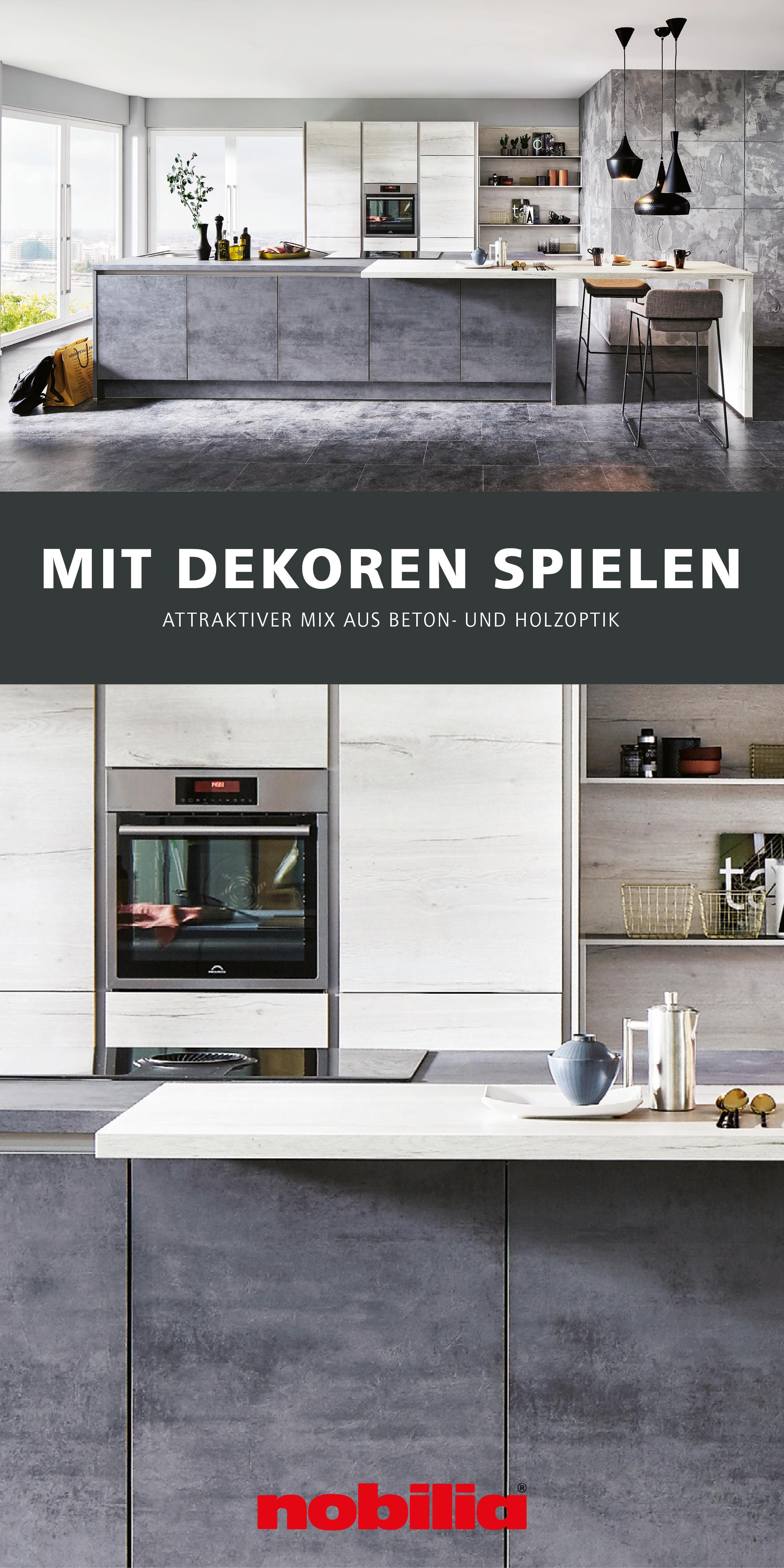Kuchengestaltung Mit Beton Und Holzdekoren In 2020 Moderne Kuche Nobilia Kuchen Kuchenplanung