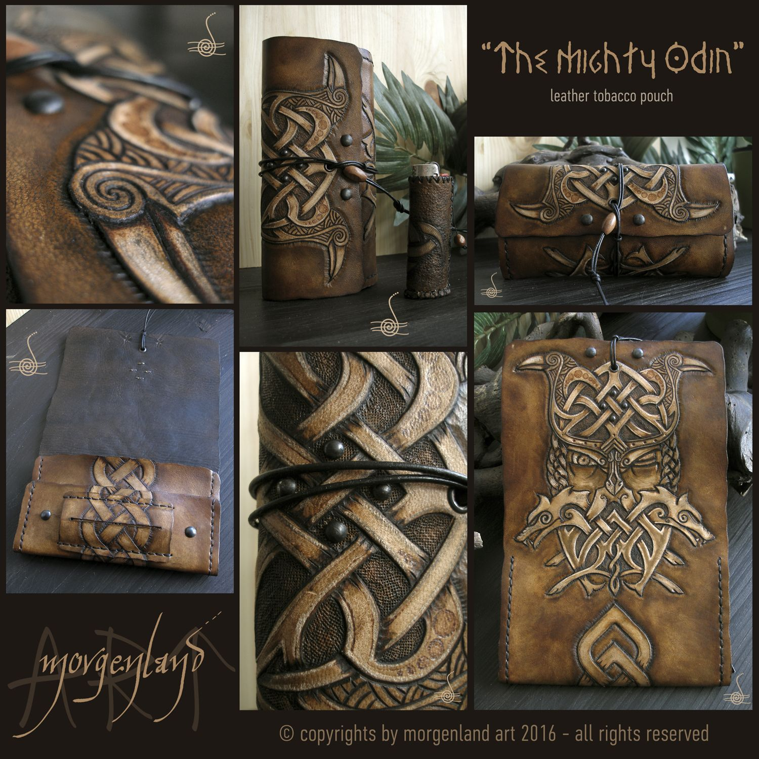 """The Mighty Odin"" Leather tobacco pouch & lighter case.  A combination of tooling, pyrography and leather dyes.  ***SOLD*** for orders please contacting me at morgenland@gmail.com"