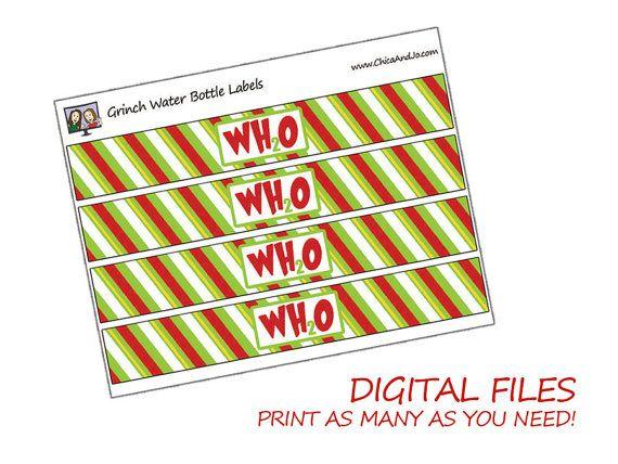 Grinch Water Bottle Label Printables Digital File By Chicaandjo