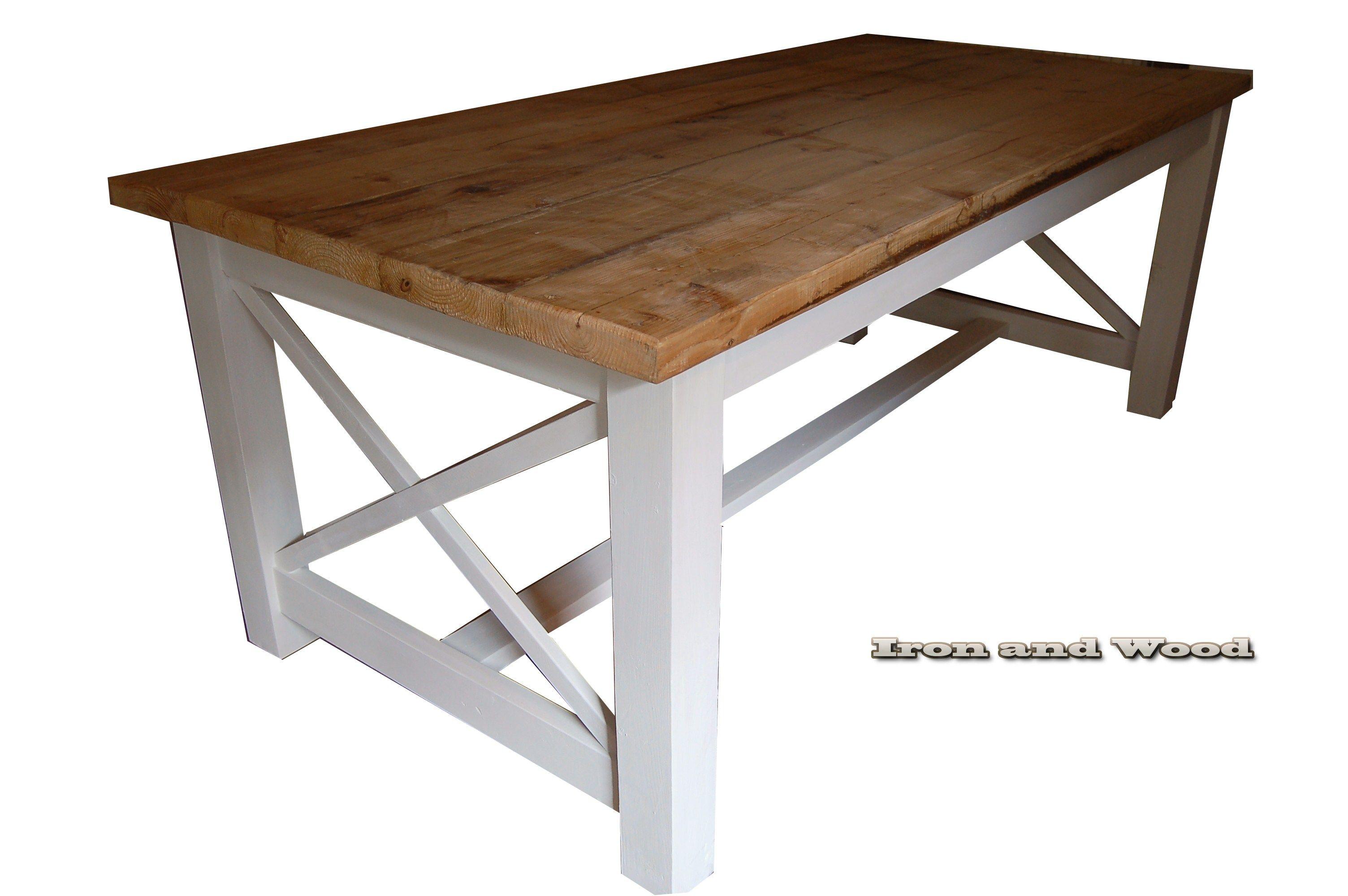 Brocante Vierkante Eettafel.Landelijke Brocante Eettafel Kloostertafel Model