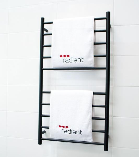 Radiant Round BRTR02 600 X 1100mm Black Heated Towel Rail   ABL Tile Centre