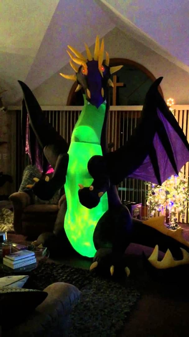 Gemmy Airblown Inflatable Dragon With Luminescent Like Wings Halloween Haunted House Decorations Halloween Yard Decorations Halloween Party Decor