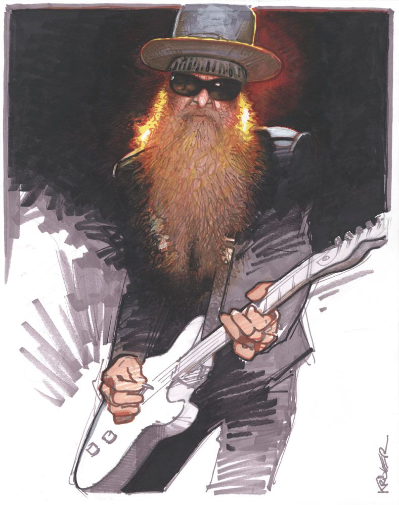 CANVAS Dusty Hill and Billy Gibbons Performing Art print POSTER