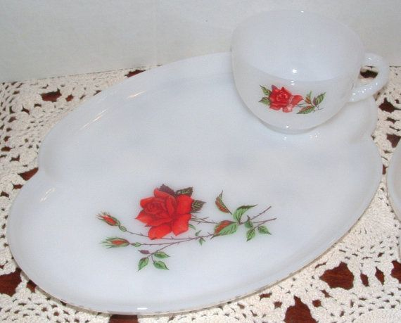 ZERO SHIPPING Vintage Federal Glass Pair of Snack by RusticWayLane