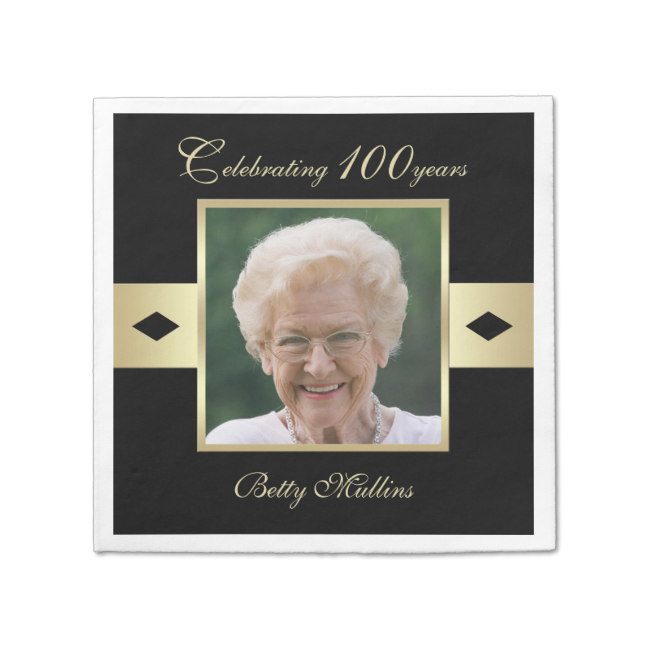 "100th Birthday Party Photo Paper Napkins Standard Cocktail Napkin Looking for personalized 100th birthday party cocktail napkins. Look no farther. These 100th birthday napkins are sure to please. The napkins feature your photo in the center surrounded by a golden frame and the words ""Celebrating 100 years"" and...read more"
