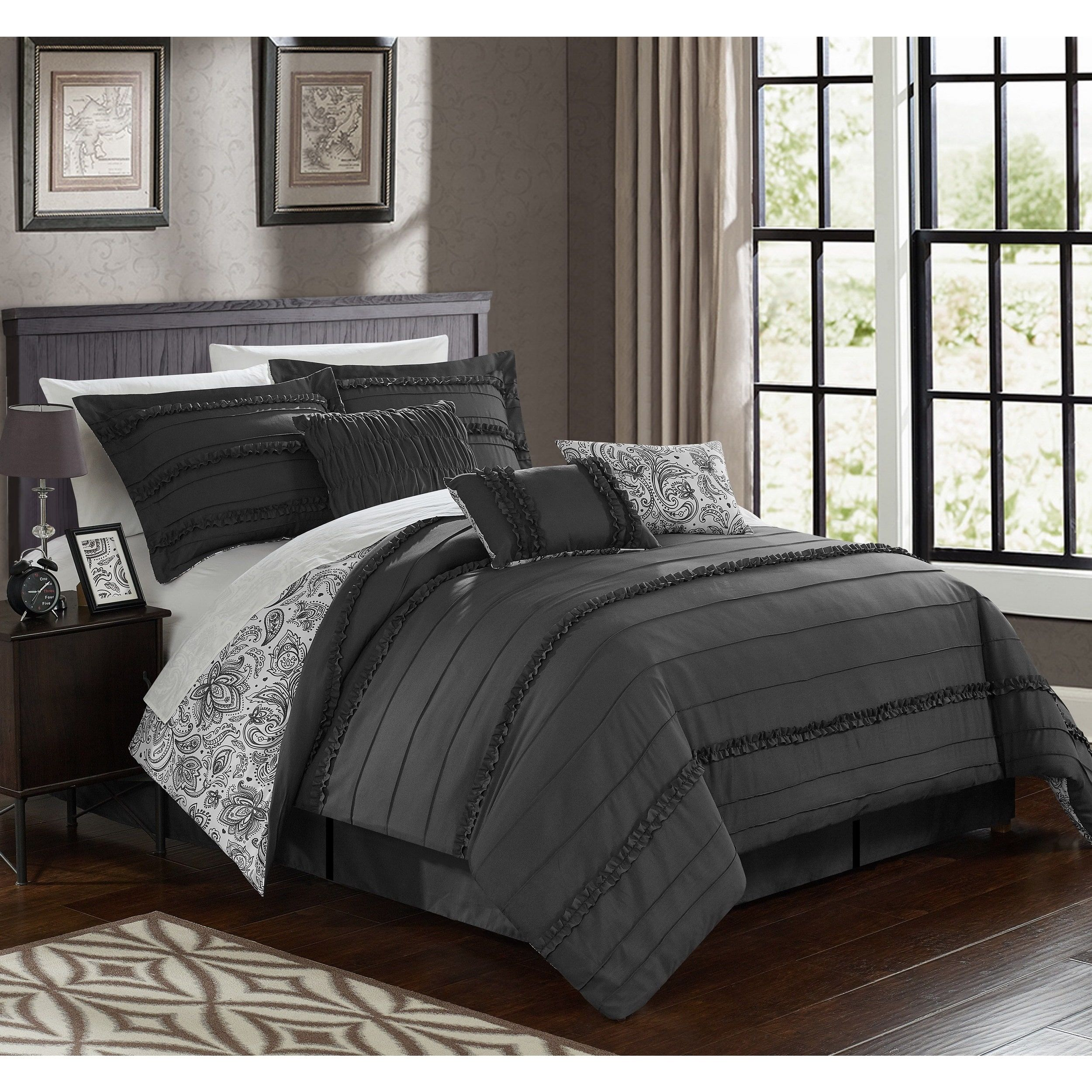 Chic Home Maeve Grey forter 7 Piece Set