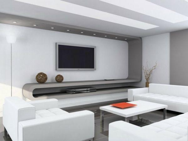 modernes wohnzimmer gestalten - tv tisch und weiße sofas - moderne wohnzimmer gestalten