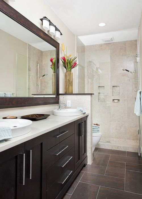 Large Format Rectangular Tiles Give A Bathroom A Fresh New Look Eclectic Bathroom Brown Tile Bathroom Bathroom Remodel Master