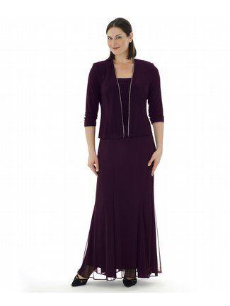 Plus Size Elegant Eggplant Two Piece Dress