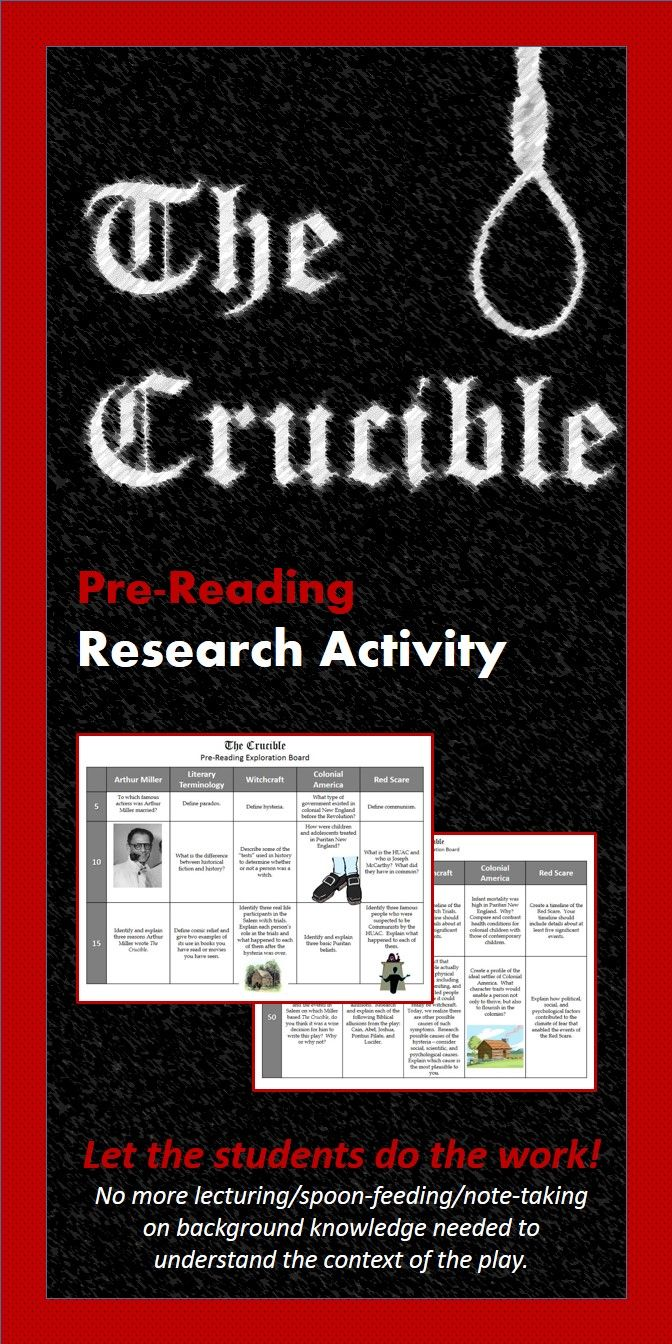 the crucible prereading research activity activities student the crucible arthur miller students build background knowledge in this lesson plan by researching