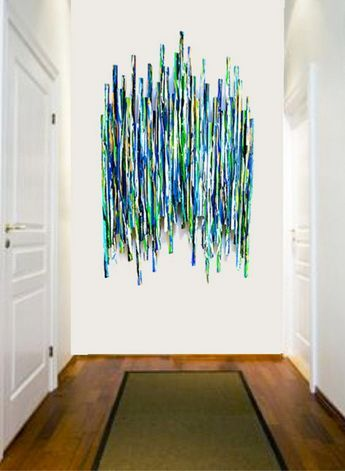 HUGE Painted Wood Wall Sculpture - Abstract Painted Wood Wall Sculptur