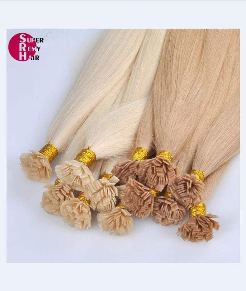 Flat tip hair 8A grade 100% human hair extensions 12-30 inch light color - Super Remy Hair