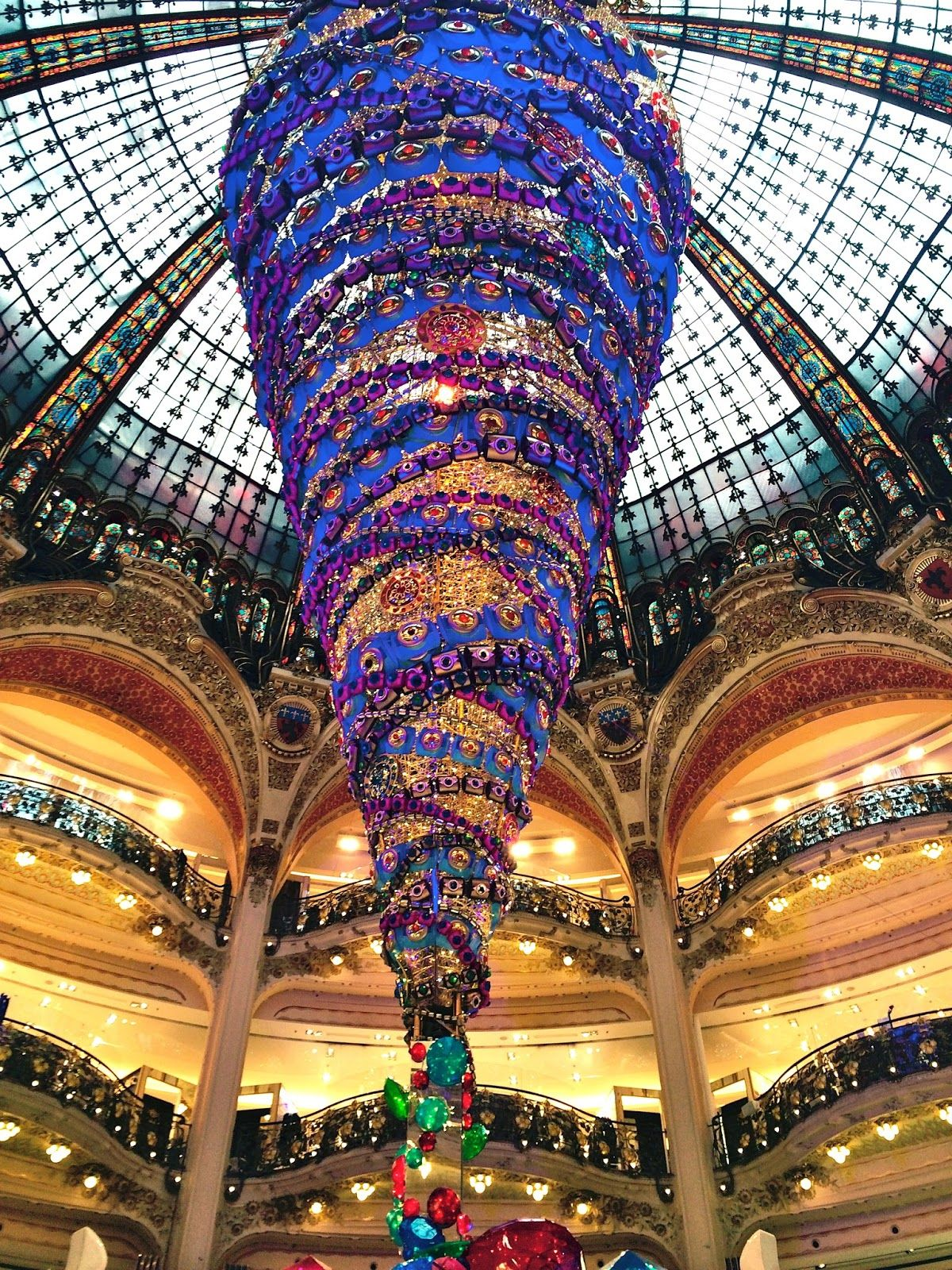 "Holiday mall display; ""Christmas at Galeries Lafayette ..."
