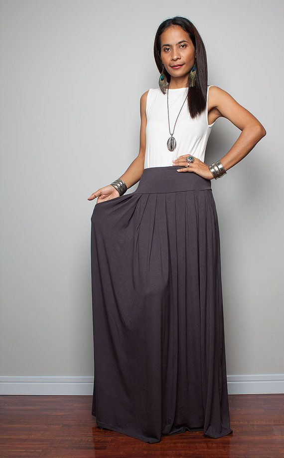 Maxi Skirt Long Light Grey Skirt Autumn Thrills by Nuichan, $52.00 ...
