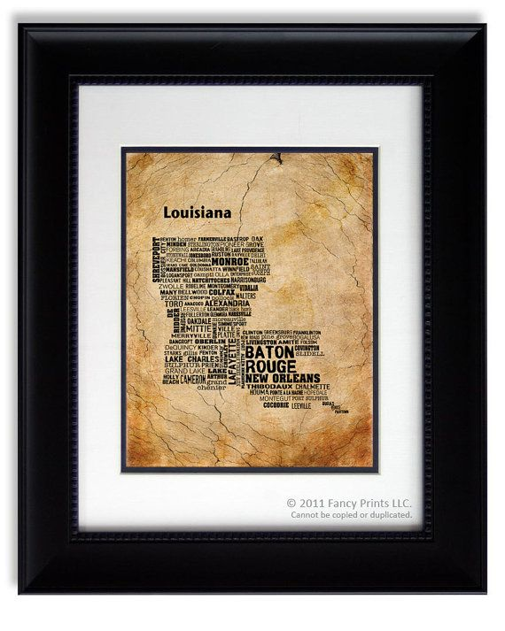 Fathers day gift ideas louisiana state map print cities Best housewarming gifts for couples