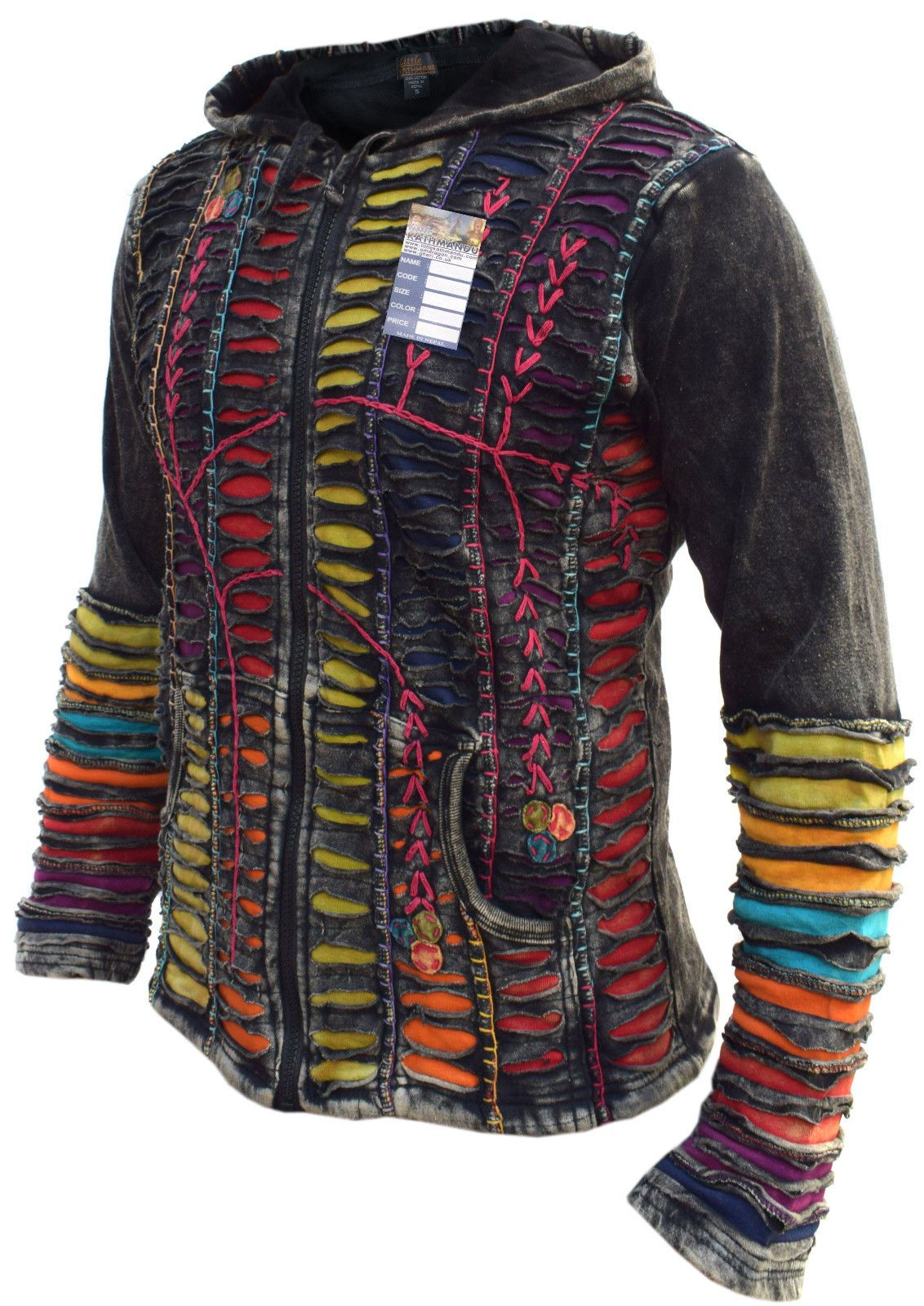 Funky Jacket Psychedelic Gothic Cotton Light Embroidery