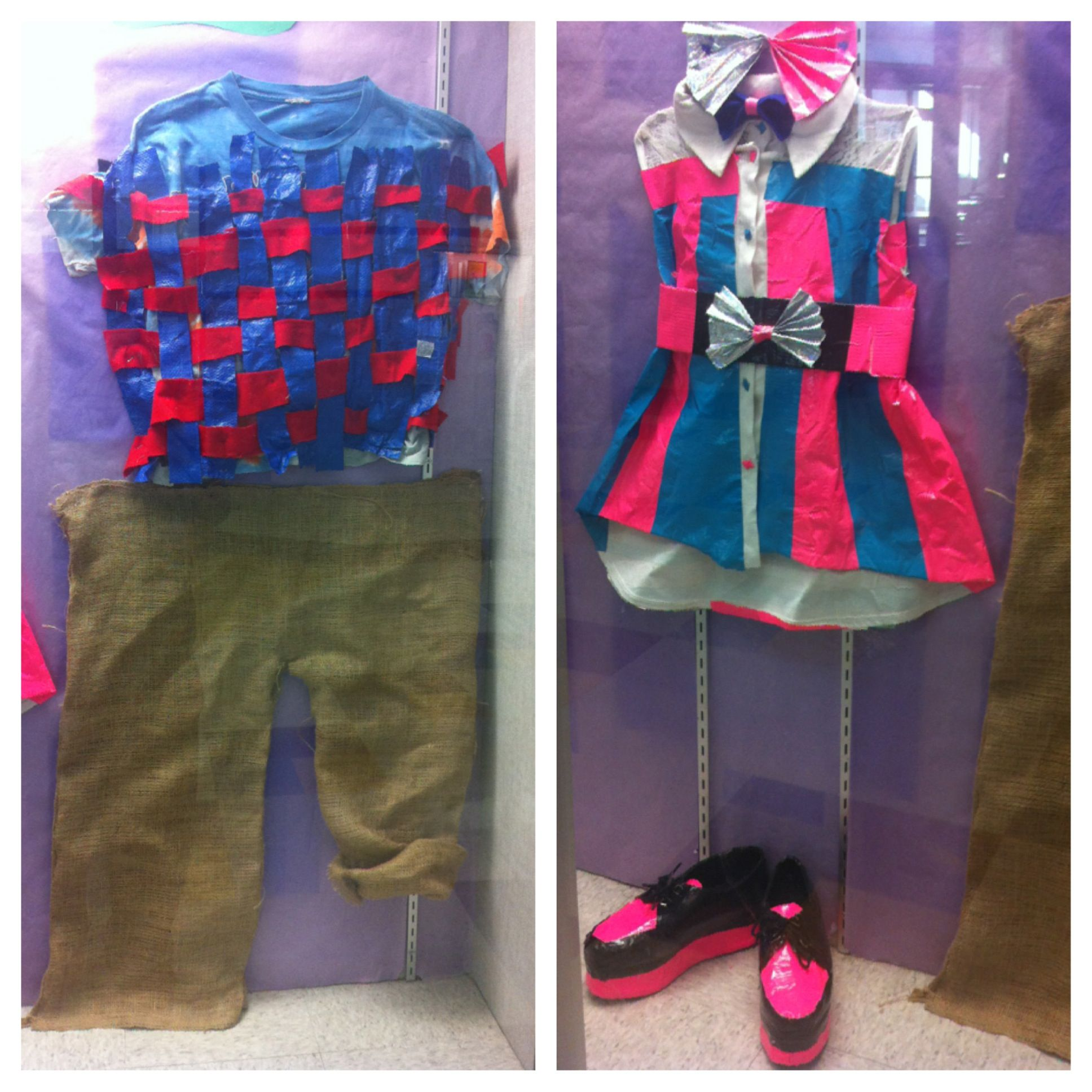 8th grade recycled fashion project w h a elementary for Recycling projects for school