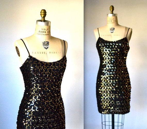 90s Prom Dress Black and Gold Sequin Dress// 90s by Hookedonhoney, $75.00