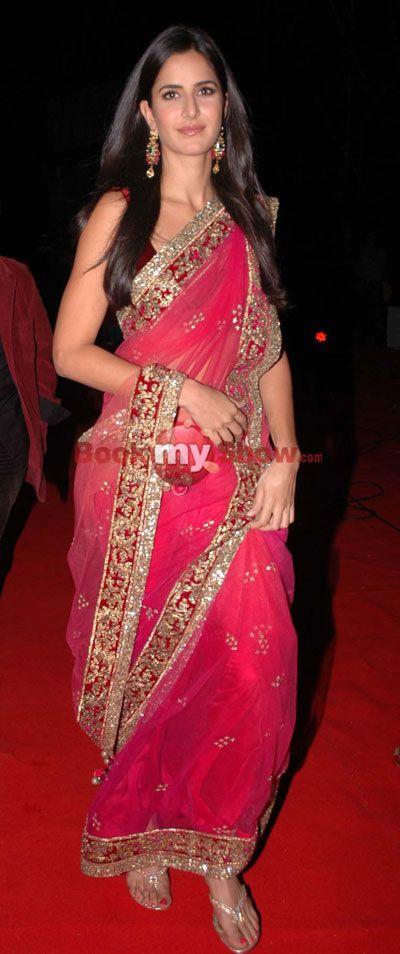 Katrina Kaif in a gorgeous #pink #saree at Apsara Awards ...
