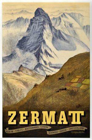 Zermatt 1956 Original Vintage Poster Listed On Antikbar Co Uk Vintage Ski Posters Ski Posters Travel Posters