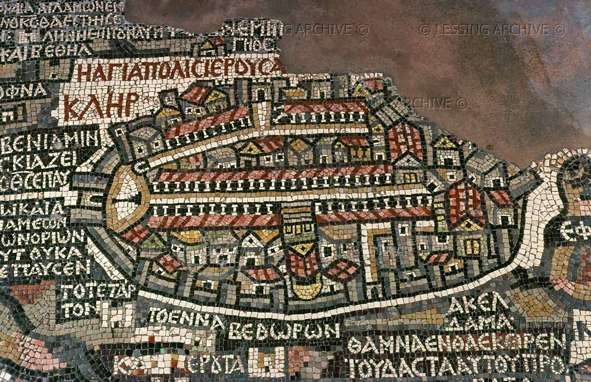 The Madaba map,a mosaic on the floor of St.George's Church ... on vienna genesis, macedonian renaissance, late antique and medieval mosaics in italy, joshua roll,