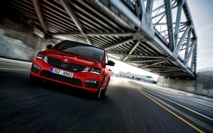 download wallpapers skoda octavia rs, 2018, front view, new red
