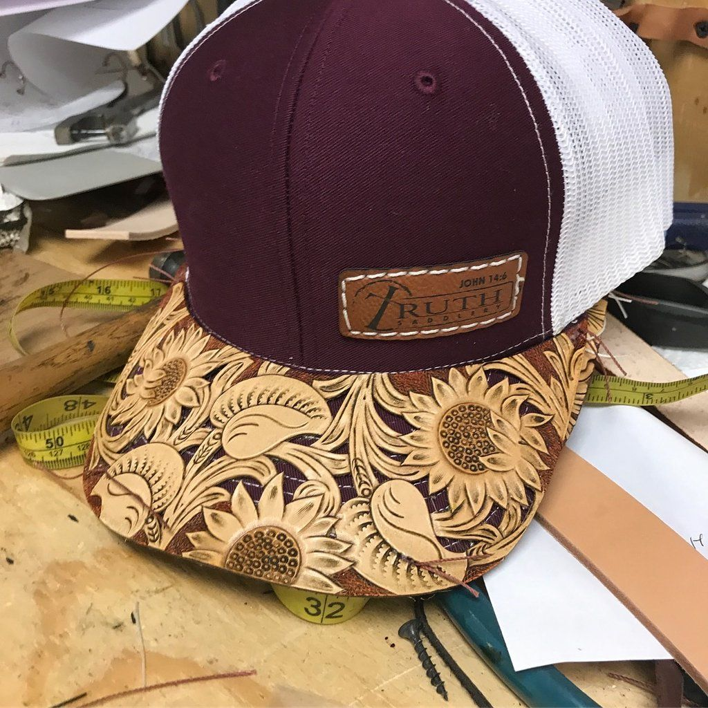 HAND TOOLED Leather Cap BRIM — TRUTH SADDLERY PATCH CAPS - Snap back One  size fi 9035a751264f
