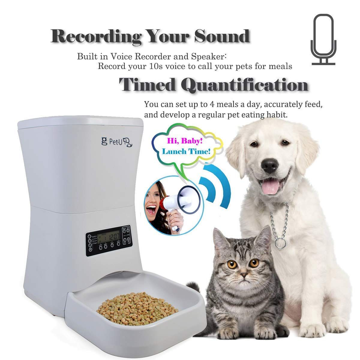 Usdream 7l Smart Automatic Pet Feeder Cats And Dogs Food Auto Dispenser With Voice Recorder Andamp Timer Programmable In 2020 Pet Feeder Dog Food Recipes Dog Feeder