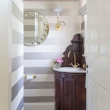 Powder Room with Gray Striped Walls and Corner Vanity #graystripedwalls