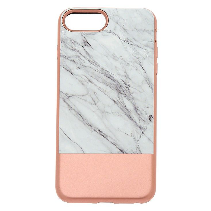 Claires rose gold and marble protective phone case fits