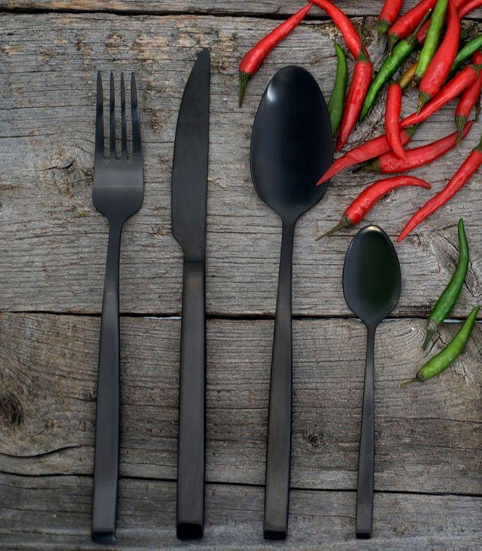 Scandinavian Design Pure Black 24 Deler Sett Halvor Bakke Black Cutlery