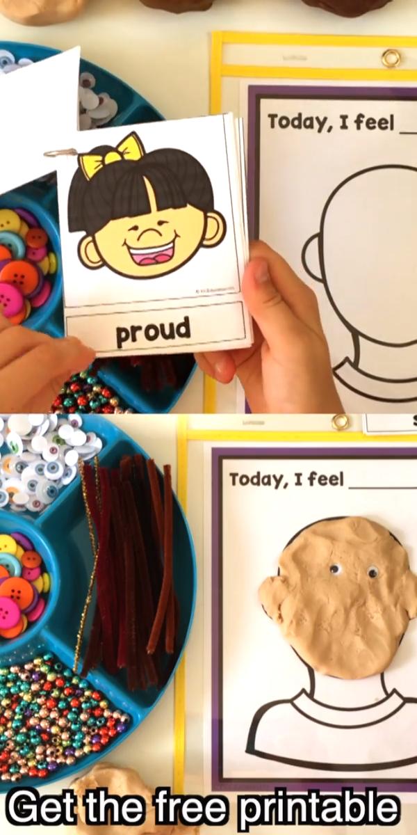 Today I Feel Emotions Mats Free Printable for Preschool and Kindergarten Feelings Activities #freebie #preschool #kindergarten #socialemotional #playdough #playdoh #freeprintable #prek