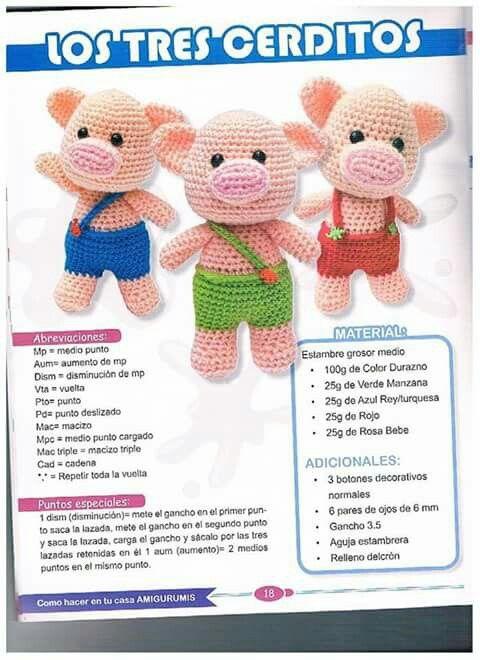 Tres cerditos | Crochet-amigurumi | Pinterest | Tres cerditos, Cerdo ...