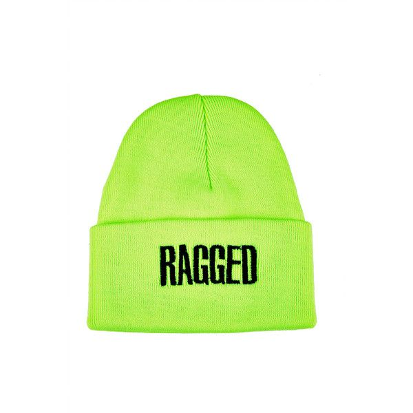 **Ragged Beanie by The Ragged Priest ($6.29) ❤ liked on Polyvore featuring accessories, hats, beanies, fluro yellow, acrylic beanie, beanie hat, logo beanie hats, acrylic hat and yellow hat