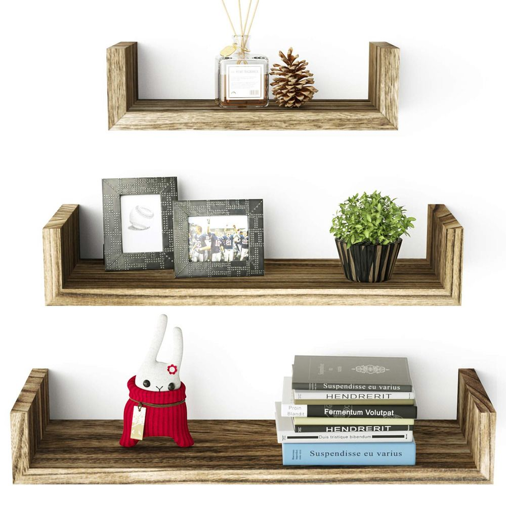 Roolee Floating U Shelves Wall Mounted Solid Wood Wall Shelves Set Of 3 Fashion Home Garden Ho Floating Shelves Wall Shelves Living Room Small Wooden Shelf