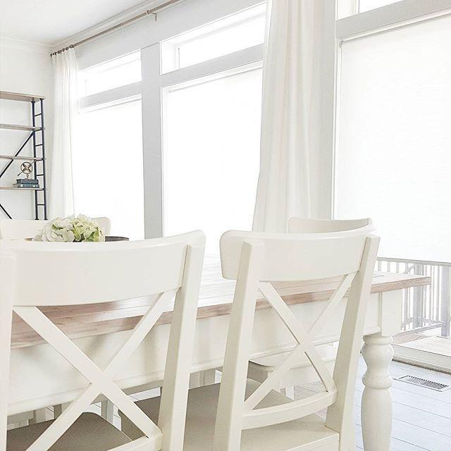 #whitelanedecor @whitelanedecor , Ikea Ingolf Chairs, Pleated Curtains,  Brass Curtian Rod,