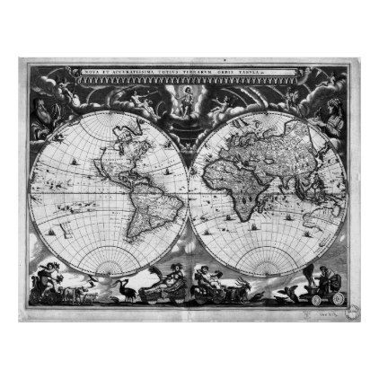 black and white world map 1664 poster diy cyo customize create your own