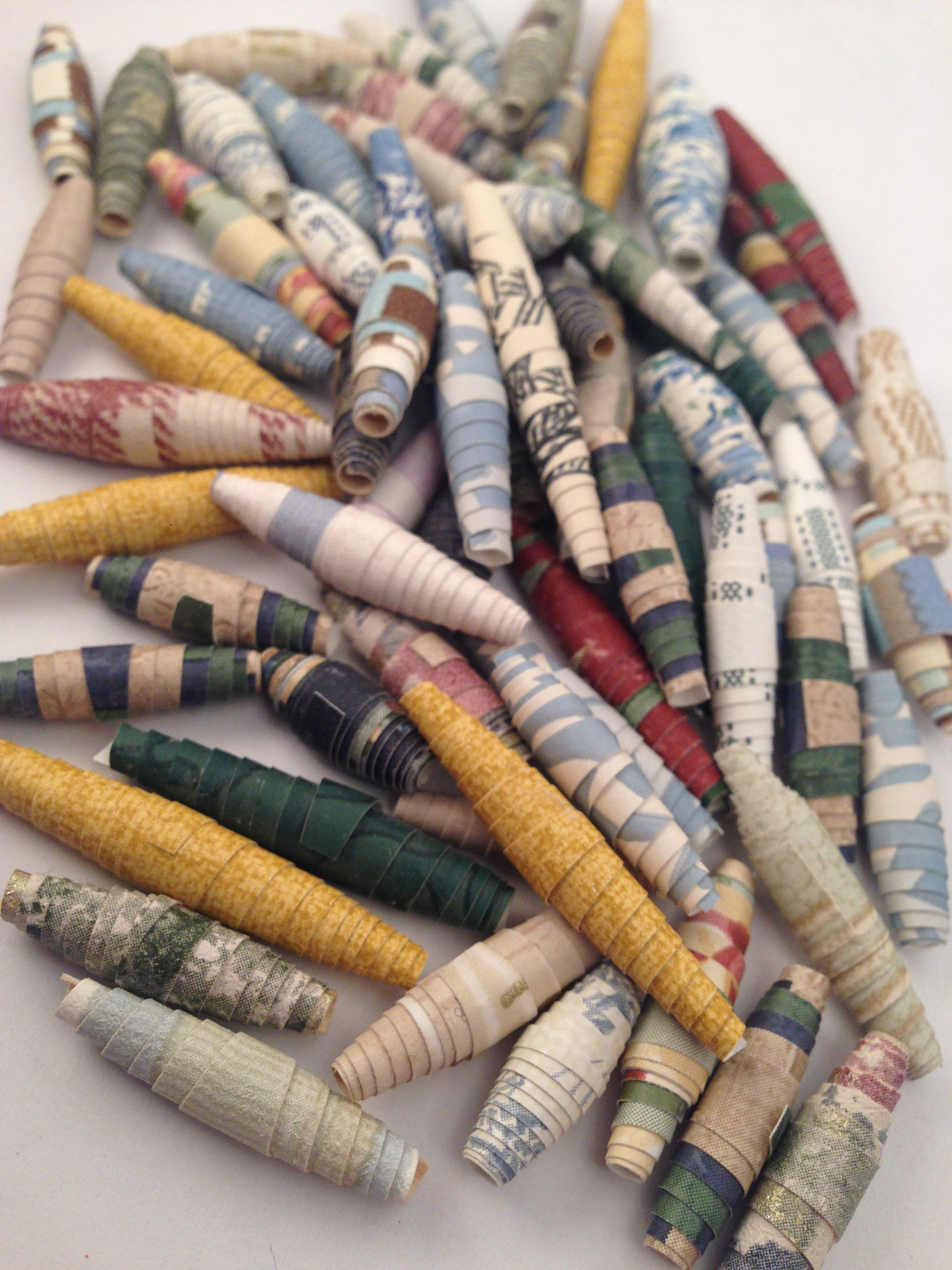 Handmade Rolled Paper Beads Made From Wallpaper Sample