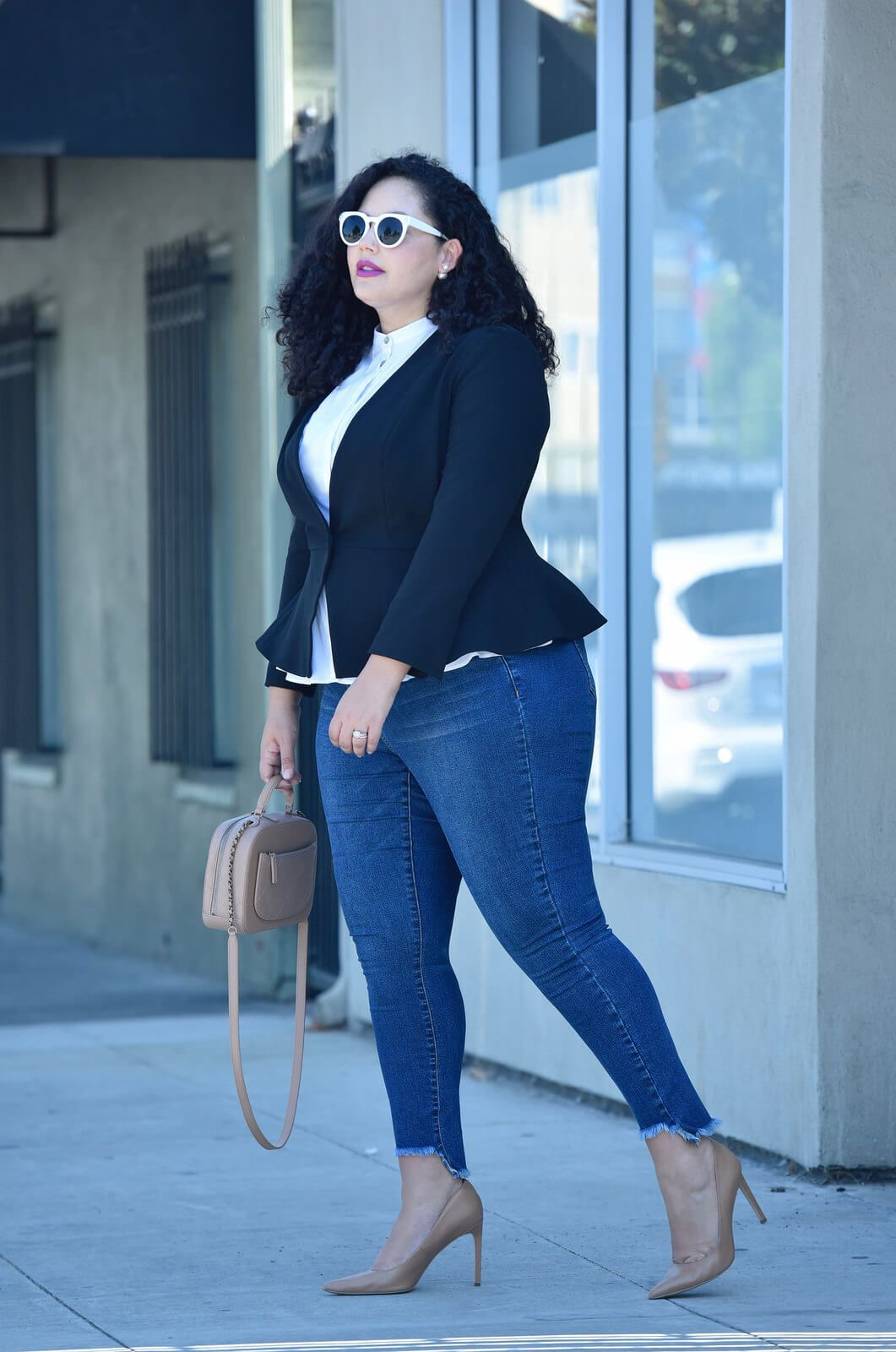 Image result for fat lady wearing skinny jeans With A Peplum Blazer