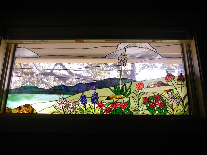 Hill Country Stained Glass Scene as an alternative in the square windows.