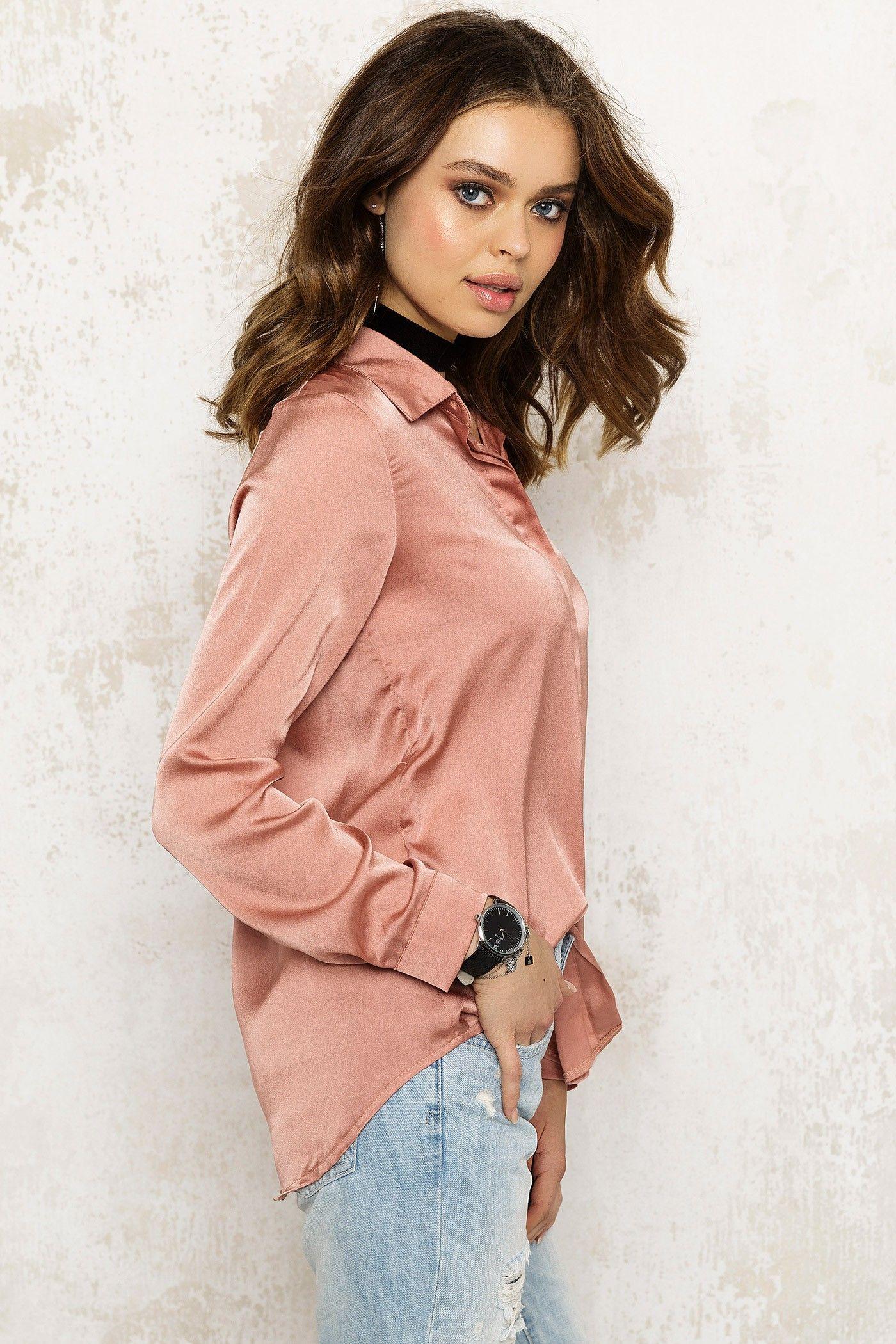 loavies pink satin shirt