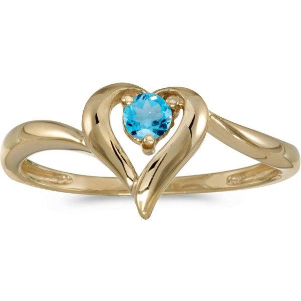 14k Yellow Gold Round Blue Topaz Heart Ring CM RM1588X 12 3 965