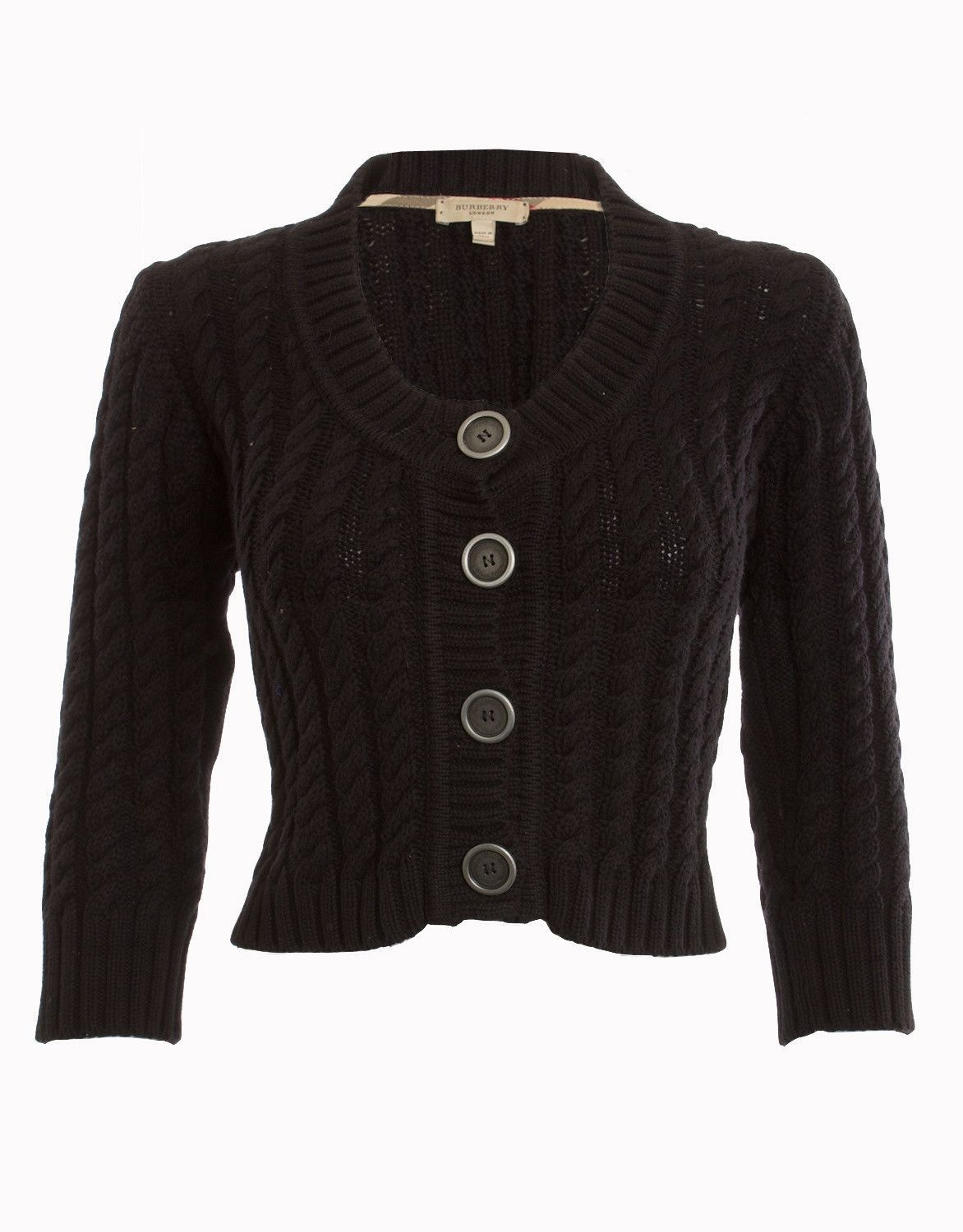 BURBERRY LONDON Black Cable Knit Cropped Cardigan Sweater Size ...