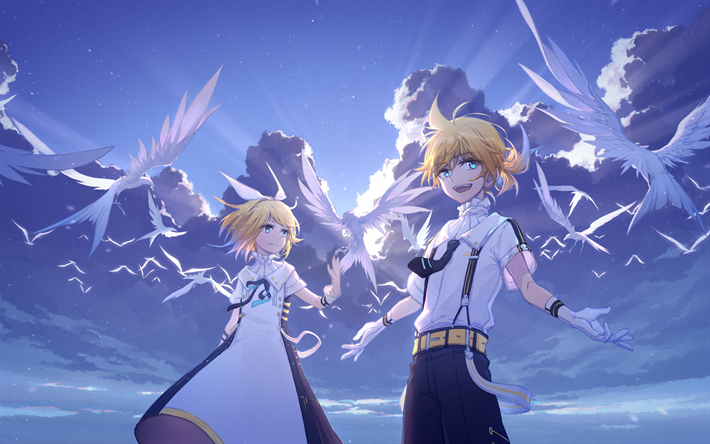 Download wallpapers Vocaloid, Kagamine Rin, Kagamine Len