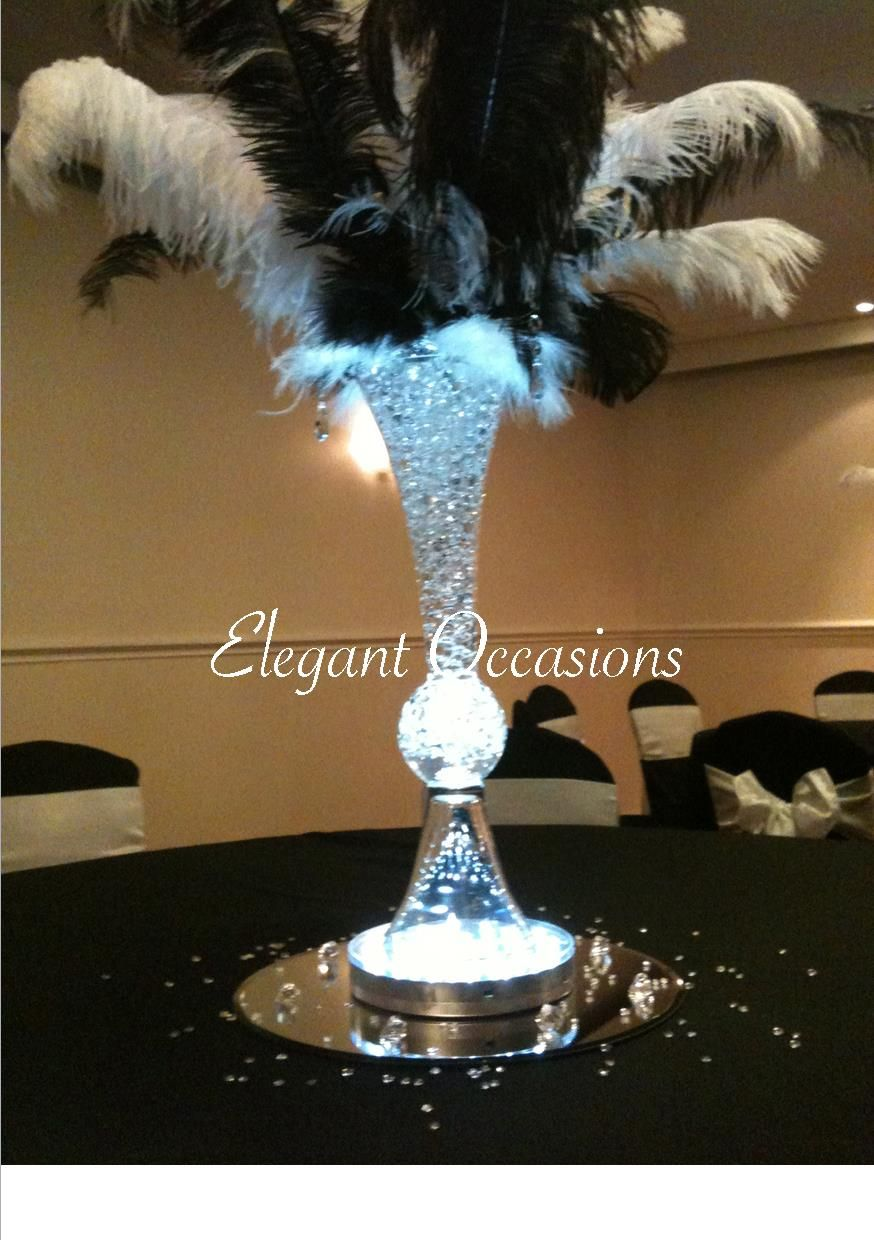Glass trumpet vase filled with clear gel balls black white glass trumpet vase filled with clear gel balls black white ostrich feather arrangement reviewsmspy