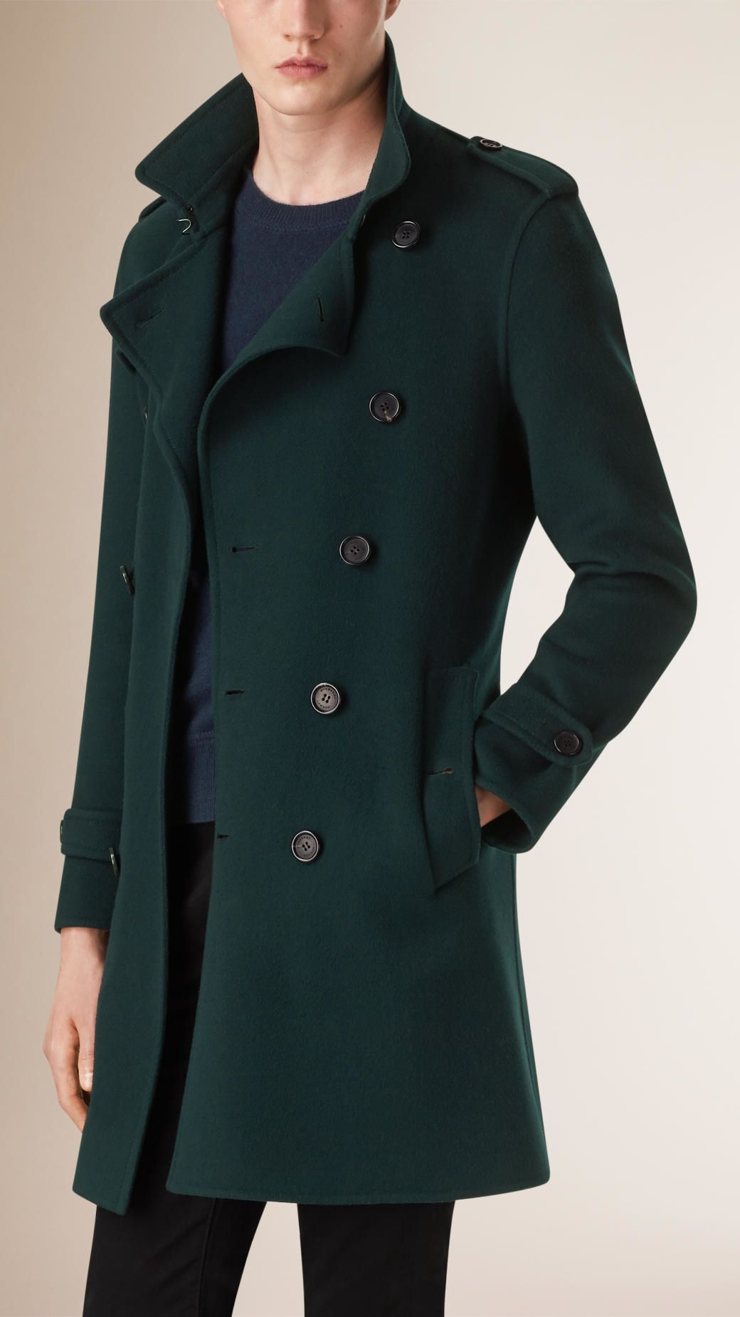 2ec926229fd6 Burberry Wool Cashmere Blend Trench Coat in Green for Men (deep bottle  green)