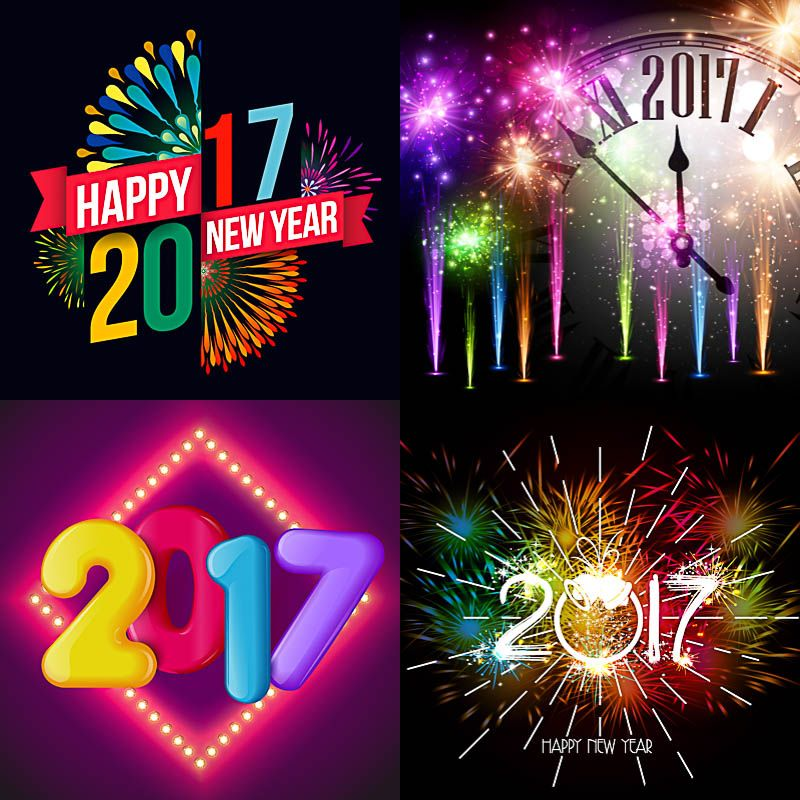 set of vector cute happy new year backgrounds for 2017 with salutes fireworks and new year clock 4 free new year backgrounds templates for your designs
