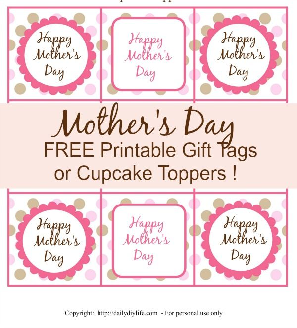 Mothers day free printable gift tags or cupcake toppers free mothers day free printable gift tags or cupcake toppers negle Images