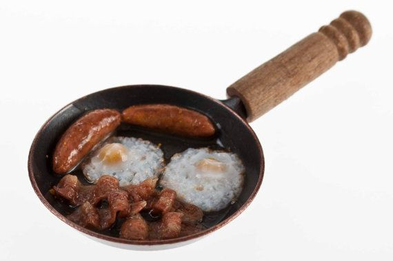 1/12 scale  frying pan with cooking sausage, bacon and eggs.